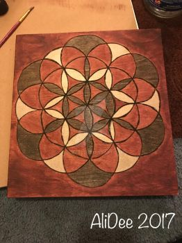 Wood burnt flower of life 2 by AliDee33