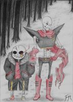 Underfell Sans and Papyrus by Kitsunewolf95