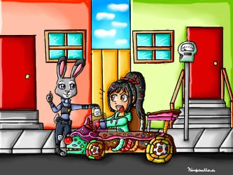 Vanellope gets a speeding ticket by ninpeachlover