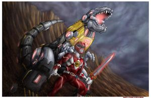 Red Ranger and Grimlock by seraphimon83