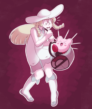 a slightly old drawing of lillie and kirby! by Nintooner