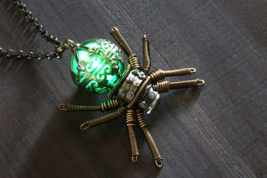 Steampunk Glowing Spider Pendant by CatherinetteRings