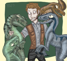 Owen and his raptor squad by jekyll-paint
