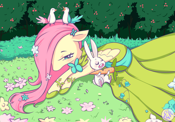 Fluttershy and Angel by Vexkex