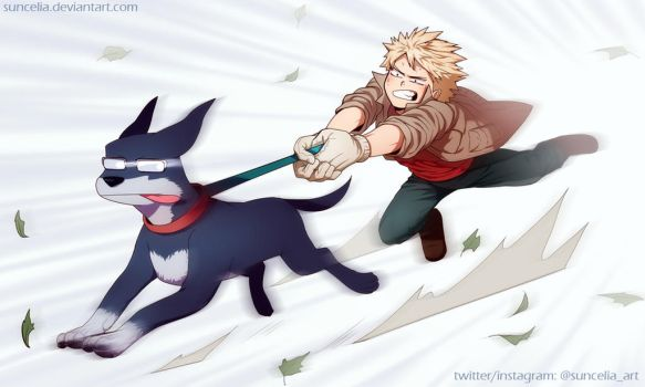 BNHA Kacchan walking the Iida dog by Suncelia