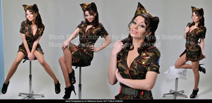 Molly - Retro Military Pin Up Poses Stock by ArtReferenceSource
