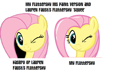 My Fluttershy MS Paint version and  Fluttershy by Cherrylis