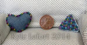 Denim Blue Fun Shapes Miniature Beaded Pillows by Kyle-Lefort