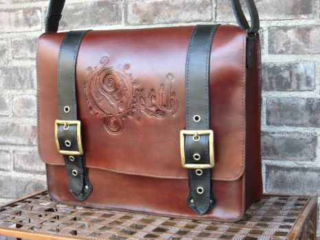 Custom messenger bag with Opeth embossing by PeacefulMynd