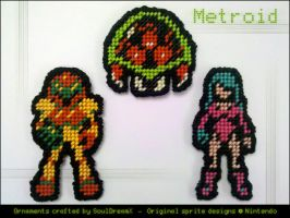 Metroid Ornaments by souldreamx