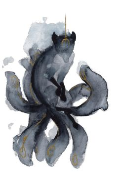 Watercolor Nine Tailed Fox by ThreeLeaves