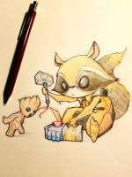 School Lunch Art - Rocket and Groot by r3v3rend