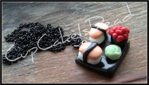 Sushi necklace by CupCakeIsDead