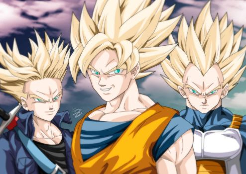 Three big Super Saiyans!!! by Sersiso