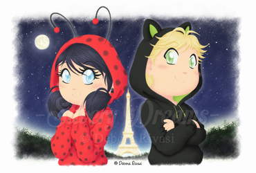 Chibi Marinette and Adrien by SilveryLugia