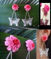 Butterfly and Rose Ball Earrings by KittyAzura