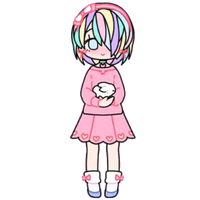 Pastel Girl with Bunny by Rosemoji
