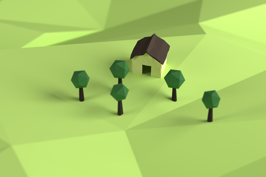 Low-Poly House and Trees by BenWurth
