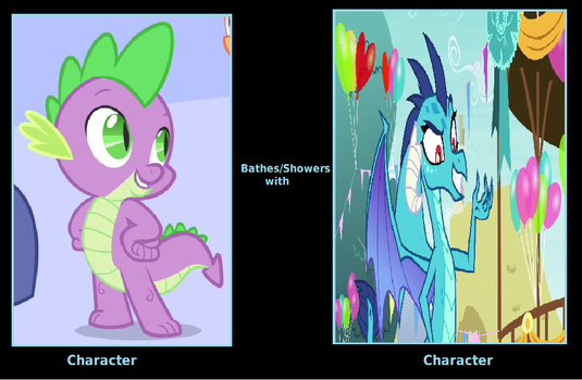 What If Spike Showers with Ember by cartoonfan22