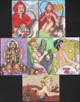 6 Pink Sketch Cards by angelacapel