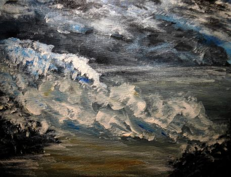 Acrylics Practice - Wave Abstract by Forestina-Fotos