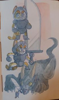 Knight Kittypaws II sketches 2 by IvaTheHuman