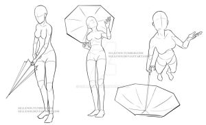 Umbrella Poses 2 by Sellenin