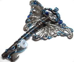 Custom Winged Key in Blue by sojourncuriosities