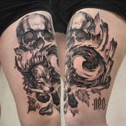 Fox and skul skech tattoo by EGOR-DOG