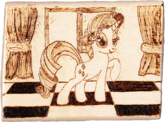 A pony everypony should know - Rarity pyrography by Malte279