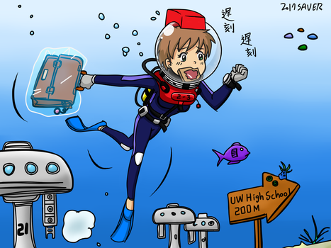 Late for Underwater School - Color Commission by The-Sakura-Samurai
