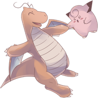 Dragonite and Clefairy Commission