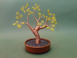 Bonsai Wire Tree Sculpture Beaded Tree by sinisaart