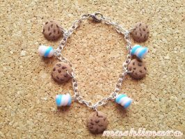 Chocolate Cookie and Marshmellow Bracelet by mashlimaro