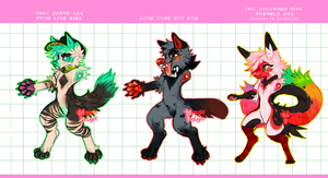 Furries with ridiculous names (ADOPTS) by MoggieDelight