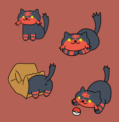 Neko Atsume-style Litten by coffee-pup