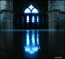 Gothic Temple Blue Reflection by Estruda