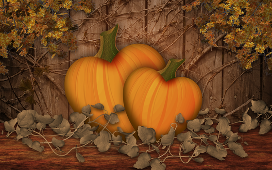 Pumpkin Pair Fairytale by KenSaunders