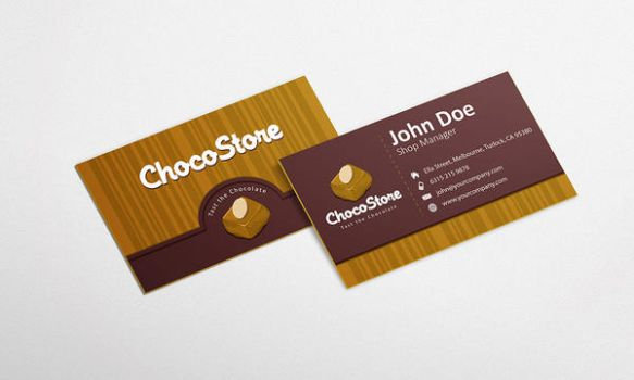 Free Chocolate Business Card Design Template by GraphicsParty