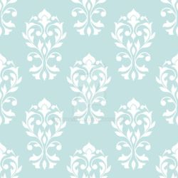 Heart Damask Pattern White on Lt Blue by NatPaskell