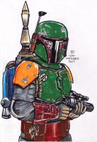#Inktober pen sketch - Boba Fett by Robert-Shane
