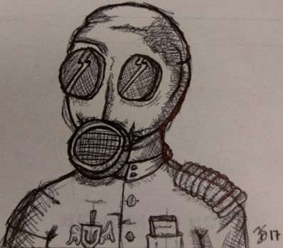 Gas Mask Guy by PartTimeDoodler