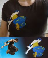 T-shirt with David Belle by AksaStrig