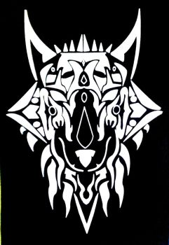 Tribal Wolf (T-shirt Design) by Erebus39