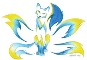 Blueflame Kitsune by RHPotter
