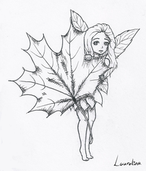 Inktober Day 1 - Shy autumn fairy by Lauralina