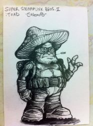 Steampunk Super Mario Bros. 2 sketch - Toad by sweav