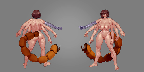 Scorpion Gunslinger nude reference by HEARTZMD