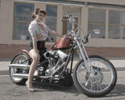 Pin Up Girl on Motorcycle by KittenVonBich