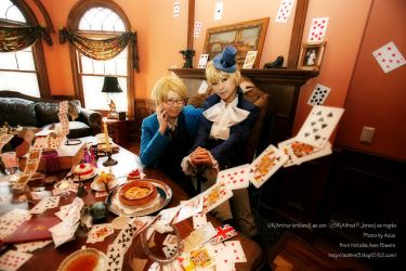Hetalia:UK and USA Trump by azuooooo